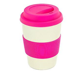 Rink Drink Bambu Copo de Café Reusable com Tampa de Silicone e Manga - 350ml - Rosa