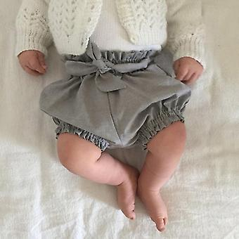 Solid Lace Up Bloomers, Baby Shorts Pantalones Cortos Diaper Cover