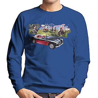 Austin Healey Background Of Sport Horses British Motor Heritage Men's Sweatshirt