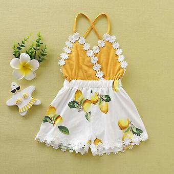 Baby Tassel Backless Lace Patchwork Lemon Printed Fashion Clothes Sunsuit