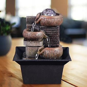 Stuff Certified® Mini Ornamental Waterfall Feng Shui - LED Fountain Decor Ornament Brown