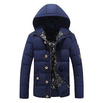 New Men's Thick Cotton-padded Jacket Youth Padded Jacket Stand-up Collar Hooded Winter Warm Men's Clothing