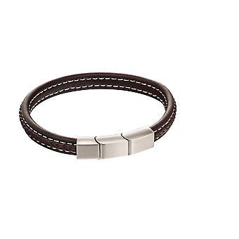 Pulsera moderna de cuero negro trenzado con cierre de característica