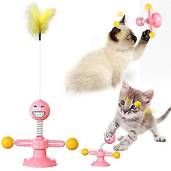 Multifunctional Sucker Interactive Cat Toy, Rotating Emoji Spring Funny Cat Toy, Relax And Kill Time, Funny Cat Stick Cat Toy