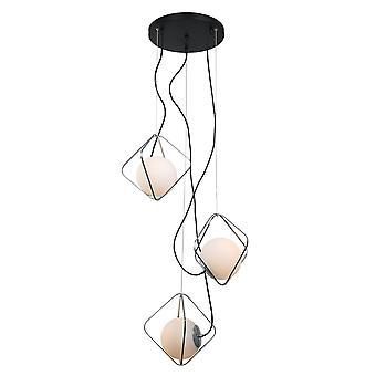 Italux Canto - moderne hängende Anhänger Chrom, schwarz 3 Licht mit weißen Farbton, E27 dimmbar