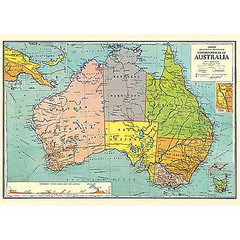 Cavallini Vintage Australie carte Wrap / affiche