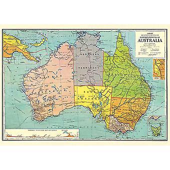 Cavallini Vintage Australien kort Wrap / plakat