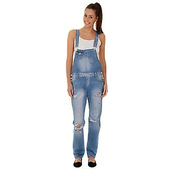 Women's boyfriend fit destroyed denim dungarees - pale wash