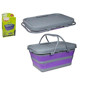 Summit Pop! 37L Litre Folding Cool Box Camping Picnic Compact Folding Collapsible - Purple / Grey