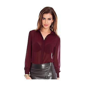 Lace back fullsleeve chiffon shirt