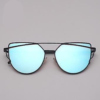 Brand Designer Cat Eye Sunglasses Vintage Metal Reflective Glasses