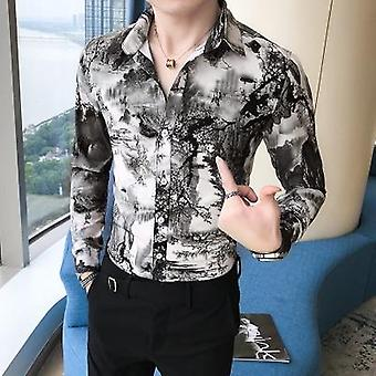 Slim Fit Men Shirt, Maneca lunga, Print Casual Shirts, Îmbrăcăminte de sex masculin