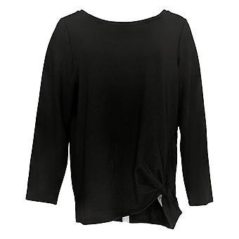 Belle by Kim Gravel Women's Top Long-Sleeve Twist Hem Top Black A309979