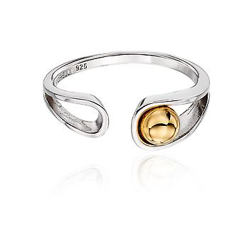 Fiorelli Silver Womens 925 Sterling Silver & Gold Plated Ball Ribbon Design Ring
