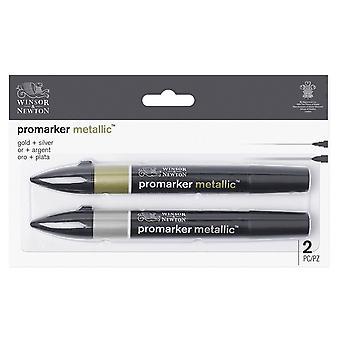 Winsor & Newton Promarker Metallic 2kpl setti (kulta ja hopea)