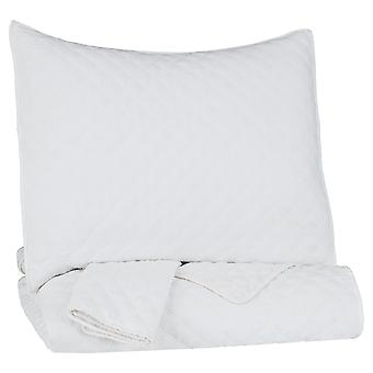 Diamante cosido twin size Fabric Coverlet/Comforter Set with one Sham, white