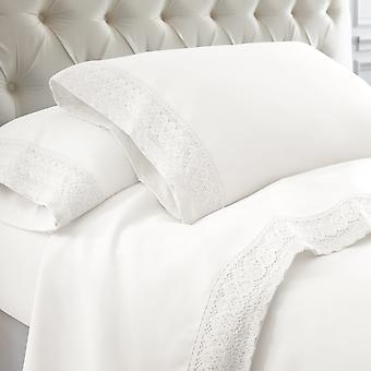 Udine 4 Piece Queen Size Microfiber Sheet Set With Crochet Lace The Urban Port, White