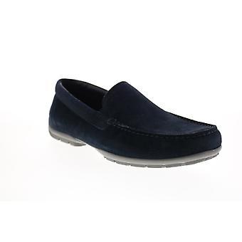 Geox U Moner W 2Fit Herren Blau Wildleder Loafers & Slip Ons Mokassin Schuhe