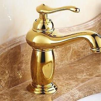 Grifo de lavabo de baño, grifo mezclador de latón de acabado dorado