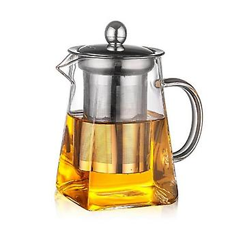 Heat Resistant Square Glass Teapot, Tea Infuser Filter