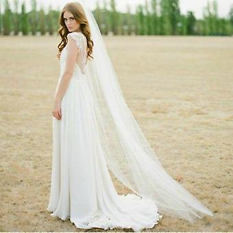 Cut Edge White Long Bridal Veils