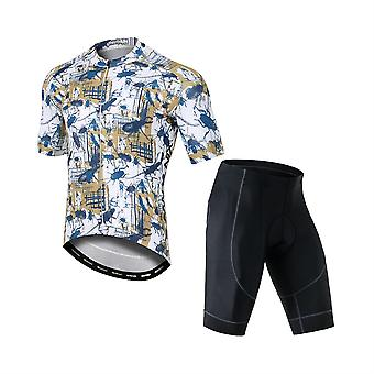 YANGFAN Men's Printed Stretch Short Sleeve Cycling Sports Two-piece Suit