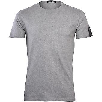 שידור חוזר של חולצת טריקו עם שרוול לוגו שחור, מלנג' אפור