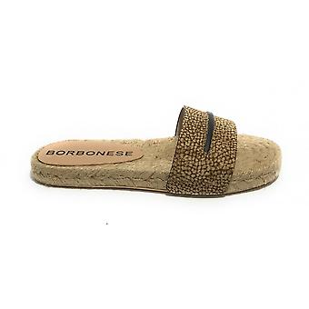 Women's Shoes Borbonese Leather Slipper With Rope Bottom Op Natural Ds21bo02 6du919