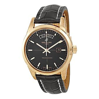 Breitling Transocean Black Dial 18kt Rose Gold Men's Watch R4531012-BB70BKCD