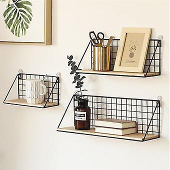 Wooden & Iron Wall Shelf Organizer Holder Kitchen Supplies Hanging Storage Cabinet Organizer for Home/ Bathroom/ Household Items