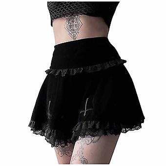 Summer High Waist Mini Skirt, Women Cross-embroidered Skirts