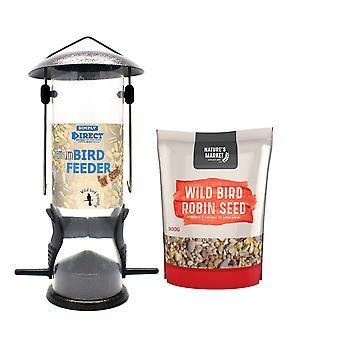 1 x Simply Direct Premium Hammertone Wild Bird Seed Feeder with 0.9KG bag of Robin Feed