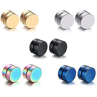 5 Paare Set Edelstahl Magnet Ohrringe fr Herren Damen CZ Ohrringe Rund Ohrringe Clips Tunnel 8mm