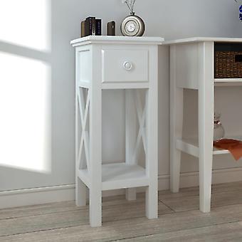 mesa lateral vidaXL com gaveta branca