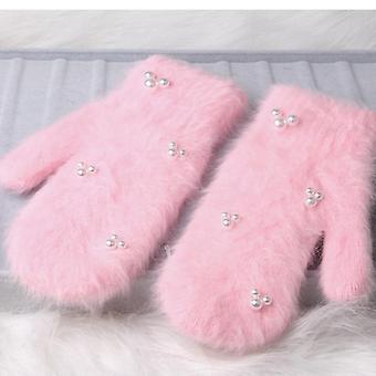 Мода женщины Зимние перчатки, меховые перчатки