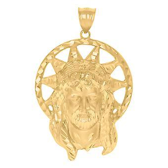 10k Amarelo Ouro Mens Medalhão Jesus Colar pendente de charme religioso Mede 54.4x34mm Presentes de Joias Largas para Homens
