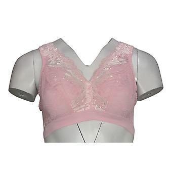 breezies bra wirefree bralette m / blonder halsen rosa