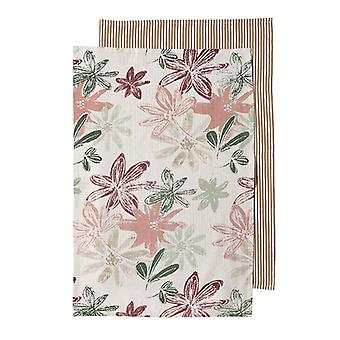 Ladelle Grown Floral Pack of 2 Tea Towels, Pink