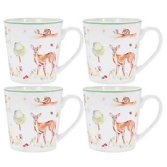Woodland Wildlife Mugs (Set of 4)