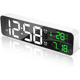 Digital väckarklocka, morgon väckarklocka LED väggklocka stor skärm digital spegel, med datum och temperatur, USB-klocka, Vit