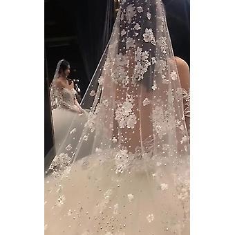 الخرز الزفاف طويل الحجاب الزفاف