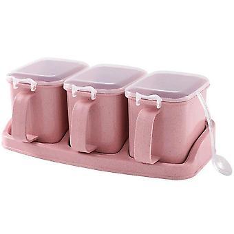 2Pcs household salt sugar condiment box For kitchen seasoning condiment jar salt shaker condiment
