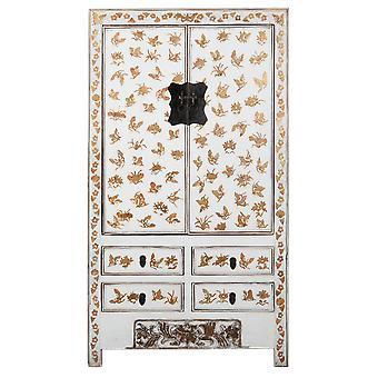 Fina Asianliving antiguo gabinete de bodas chino oro blanco pintado a mano aprox W105xD50xH188cm