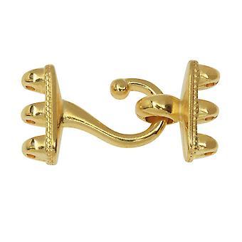Gancho de platillo y cierres de ojos para perlas GemDuo, Mesaria III, 1 Set, 24k Bañado en oro