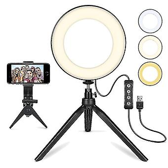 6''led Selfie Ring Light,,himmennettävä Desktop Beauty Ringlight,Youtubeen, Meikki, Videokuvaus, Vlog