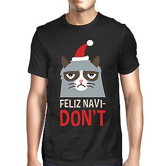 Feliz Navidon't preto t-shirt, presente de Natal masculina para os amantes do gato