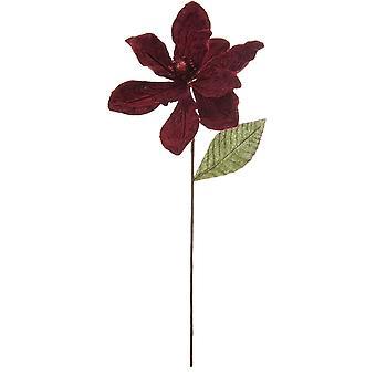 53cm Bourgogne Velvet och Glitter Magnolia Stem för blomsterhantverk