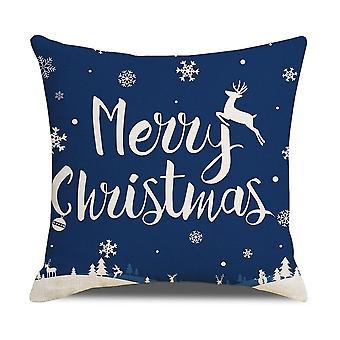 Joulutyynyliina sininen hirvi lumihiutale pellava kirje painettu sohva heittää tyynyn kansi 45x45cm tyynyliina olohuone kodin sisustus
