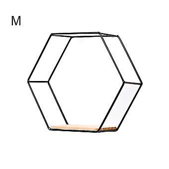 Nordic style floating hexagonal wall shelves(Black M)