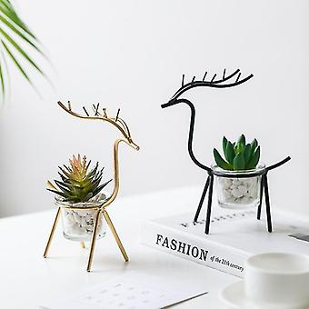 Nordic style  multi use iron elk flower pot planter and candle holder.(Gold)